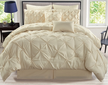 8 Piece Rochelle Pinched Pleat Ivory Comforter Set