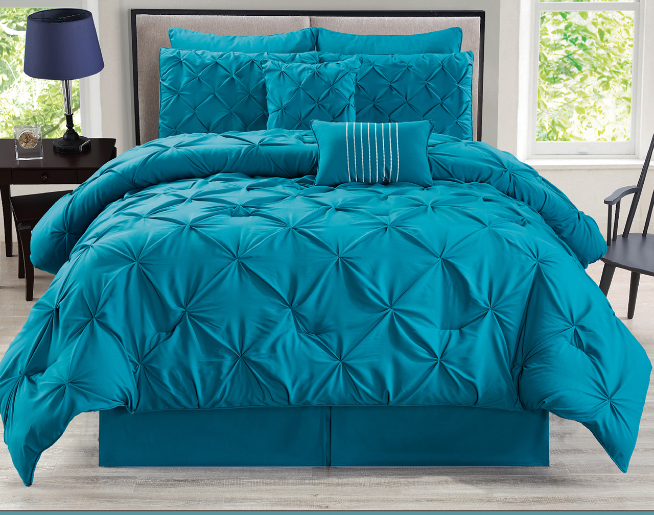 8 Piece Rochelle Pinched Pleat Teal Comforter Set Queen
