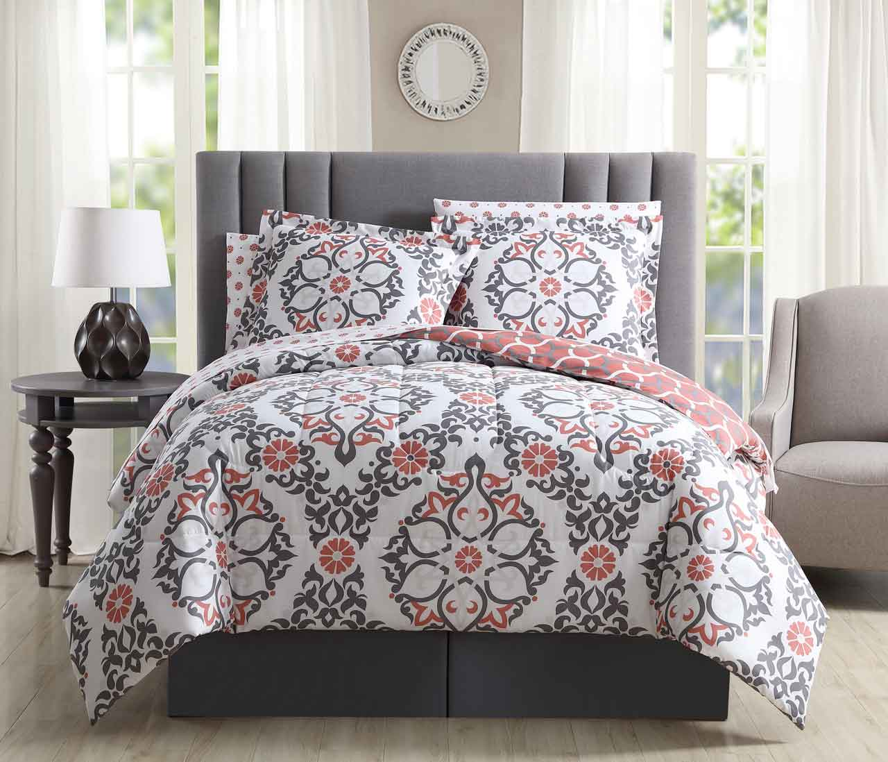 8 piece shakti coralgraywhite reversible bed in a bag set