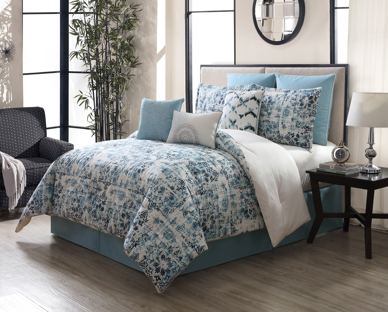 ruffled set comforter teal decor home bedroom