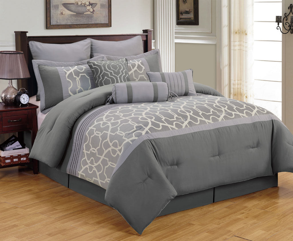 9 Piece King Aisha Gray Comforter Set