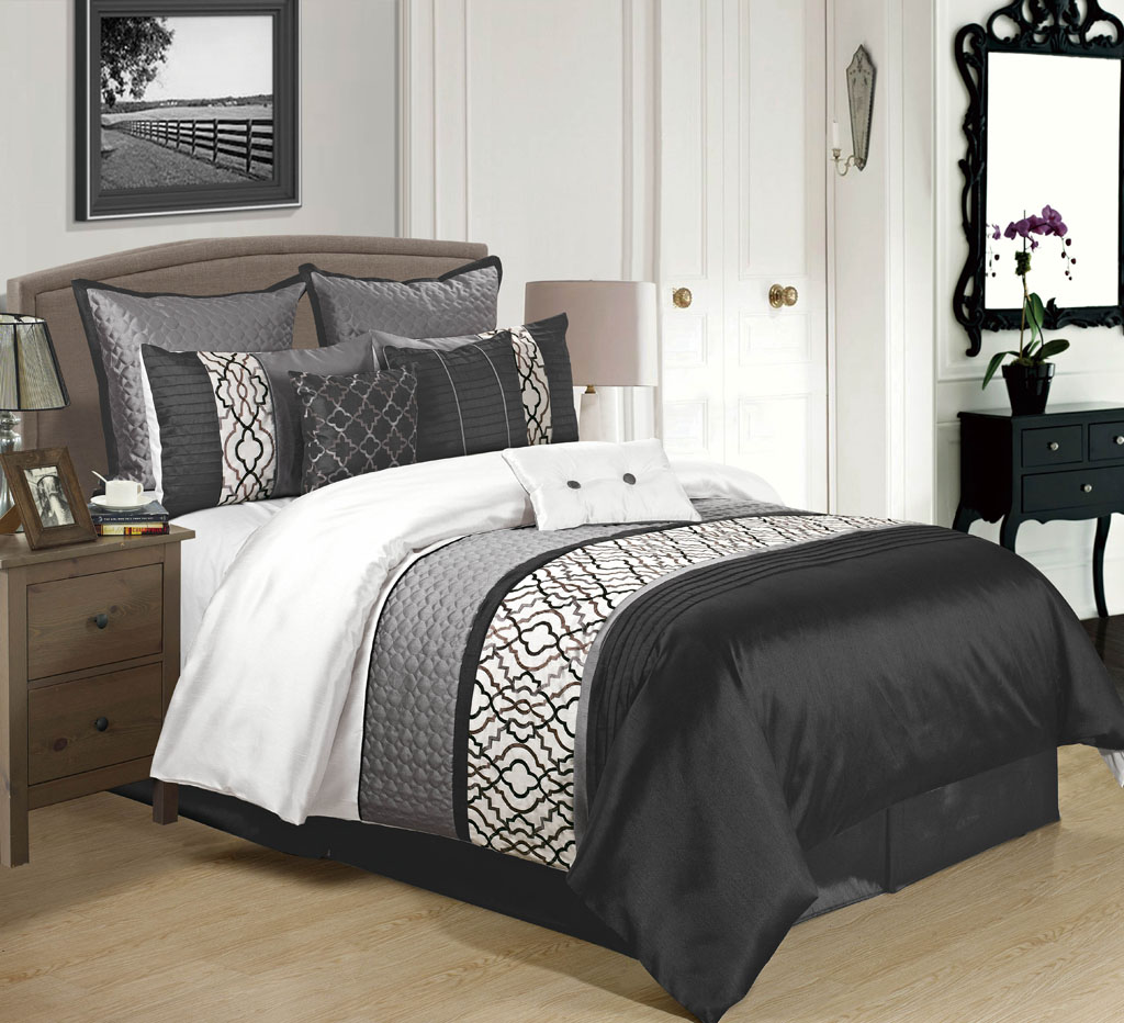 9 Piece Cambridge Black Charcoal White Comforter Set