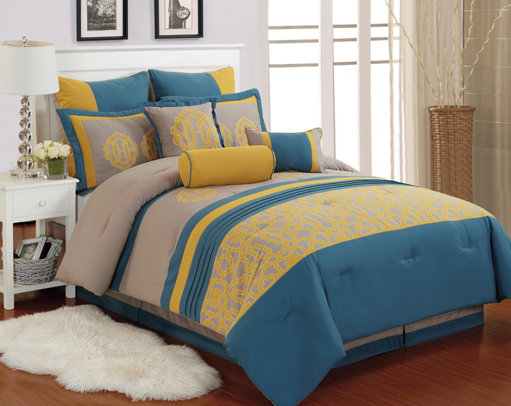 Yellow and blue bedding - 9 Piece Carlton Yellow Blue Taupe Comforter Set