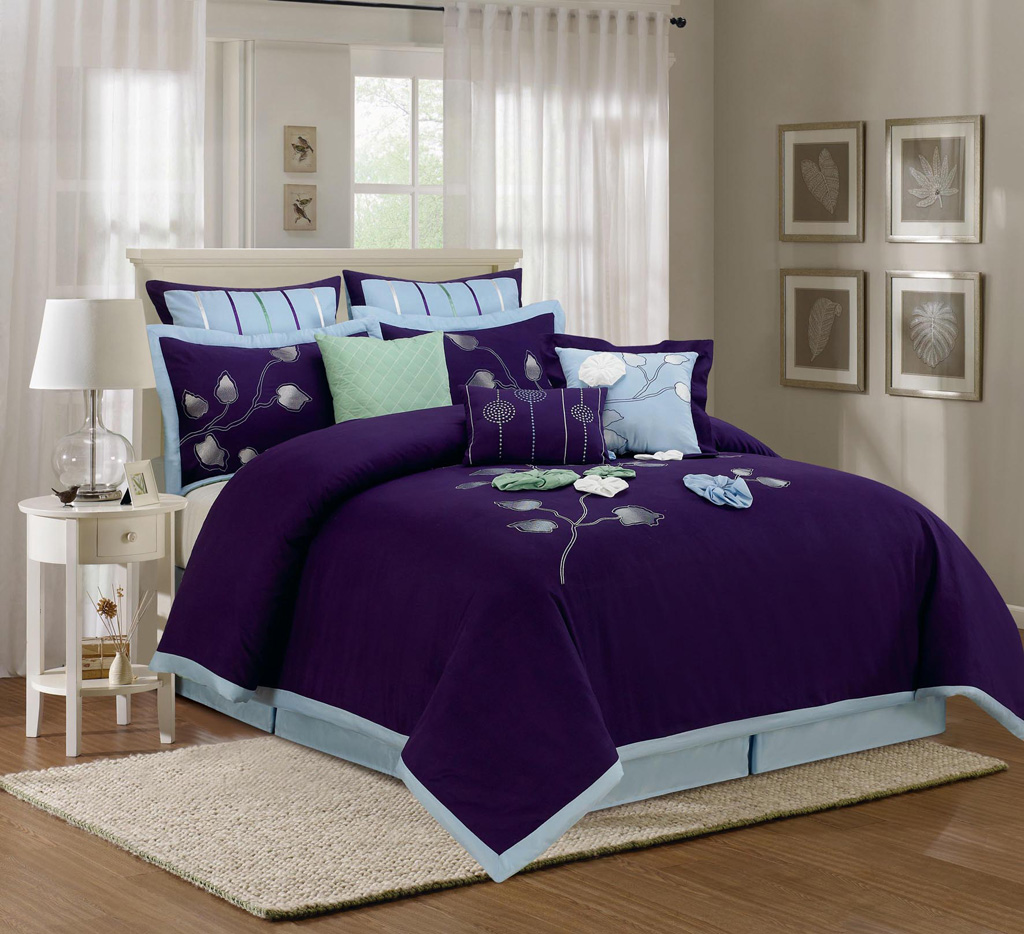 9 Piece King Salzer Blue Comforter Set
