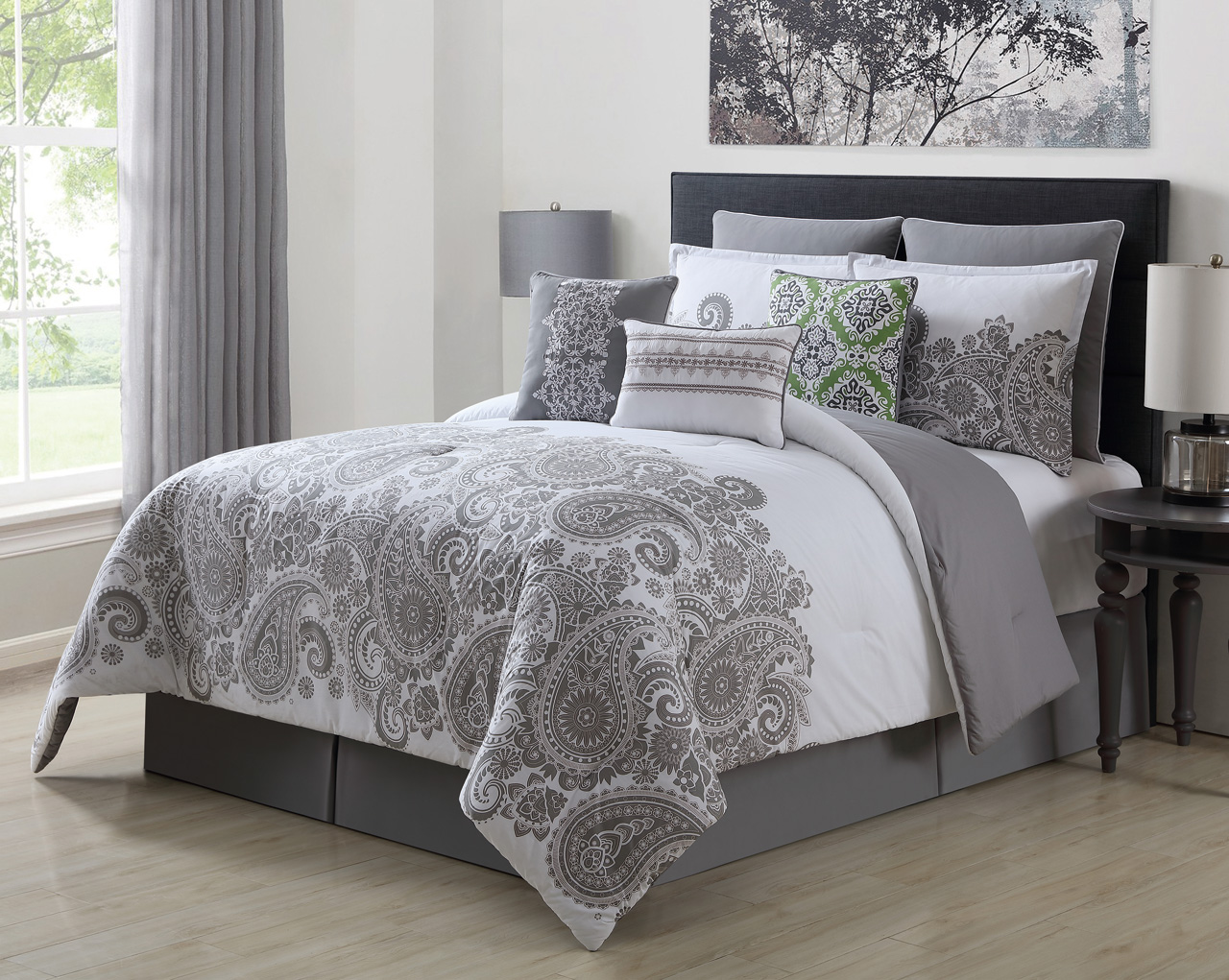 9 Piece Mona Gray White 100 Cotton Comforter Set