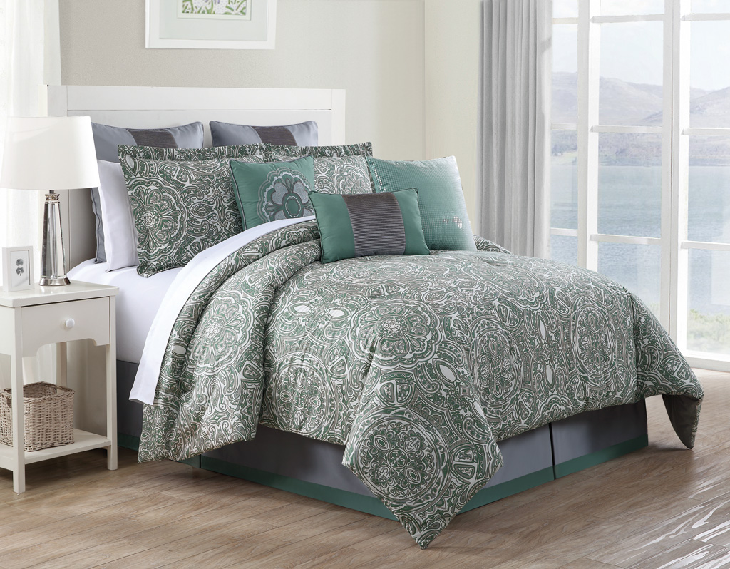9 Piece Queen Clara 100% Cotton Comforter Set