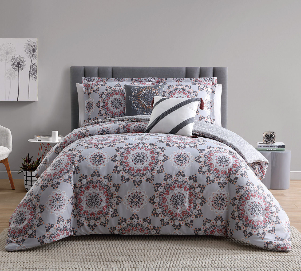 9 Piece Renee Taupe Coral Reversible Bed In A Bag Set