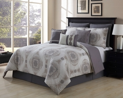 9 Piece Sloan Taupe/Gray 100% Cotton Comforter Set