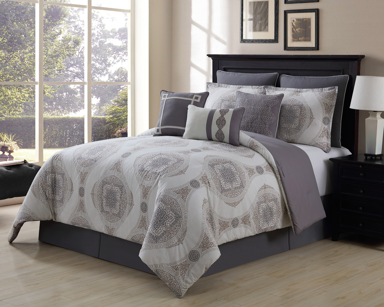 9 Piece Sloan Taupe Gray 100 Cotton Comforter Set Queen