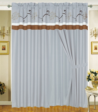 Analisa Floral Embroidered Curtain Set