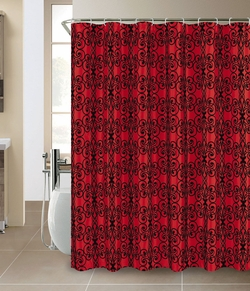 Avery Faux silk Flocking Shower Curtain Burgundy/Black
