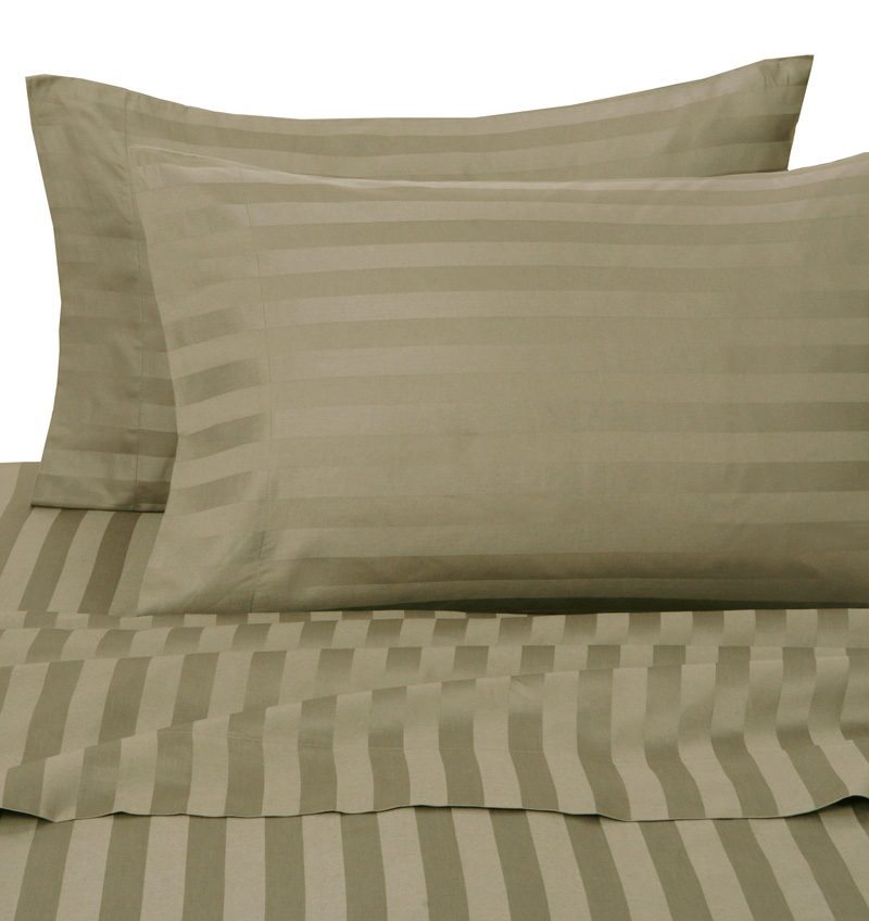 Beige Damask Stripe 500 Thread Count Cotton Pillowcases King