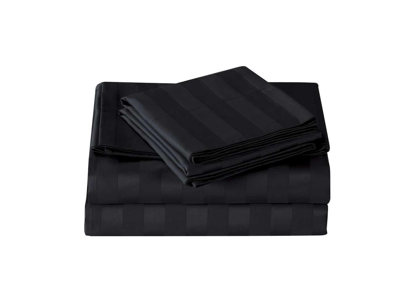 Black 500 Thread Count Damask Stripe Cotton Sheet Set