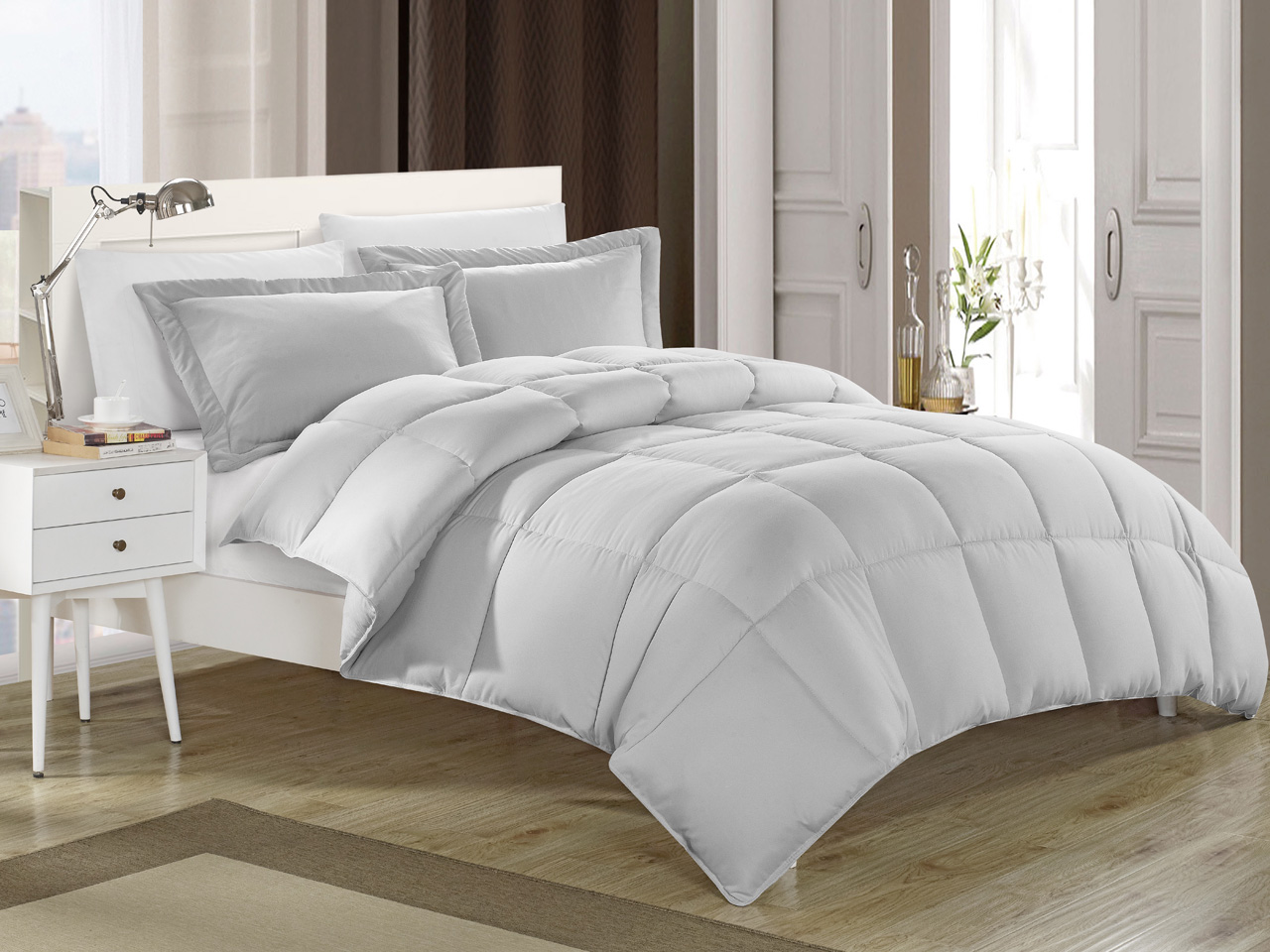 Gray down alternative comforter set twin