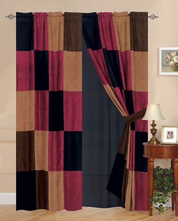 Burgundy/Brown/Black Berkley Patchwork Micro Suede Curtain Set