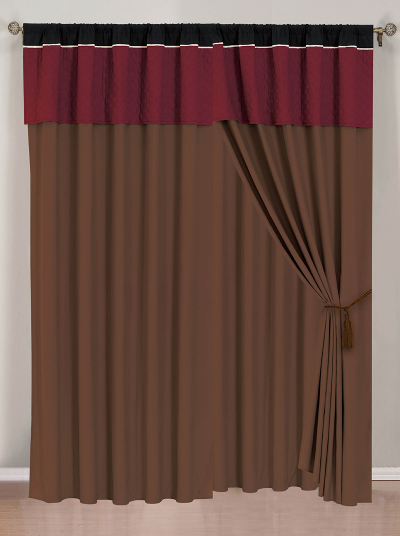 Burgundy Curtains With Valance Penelope Curtain With