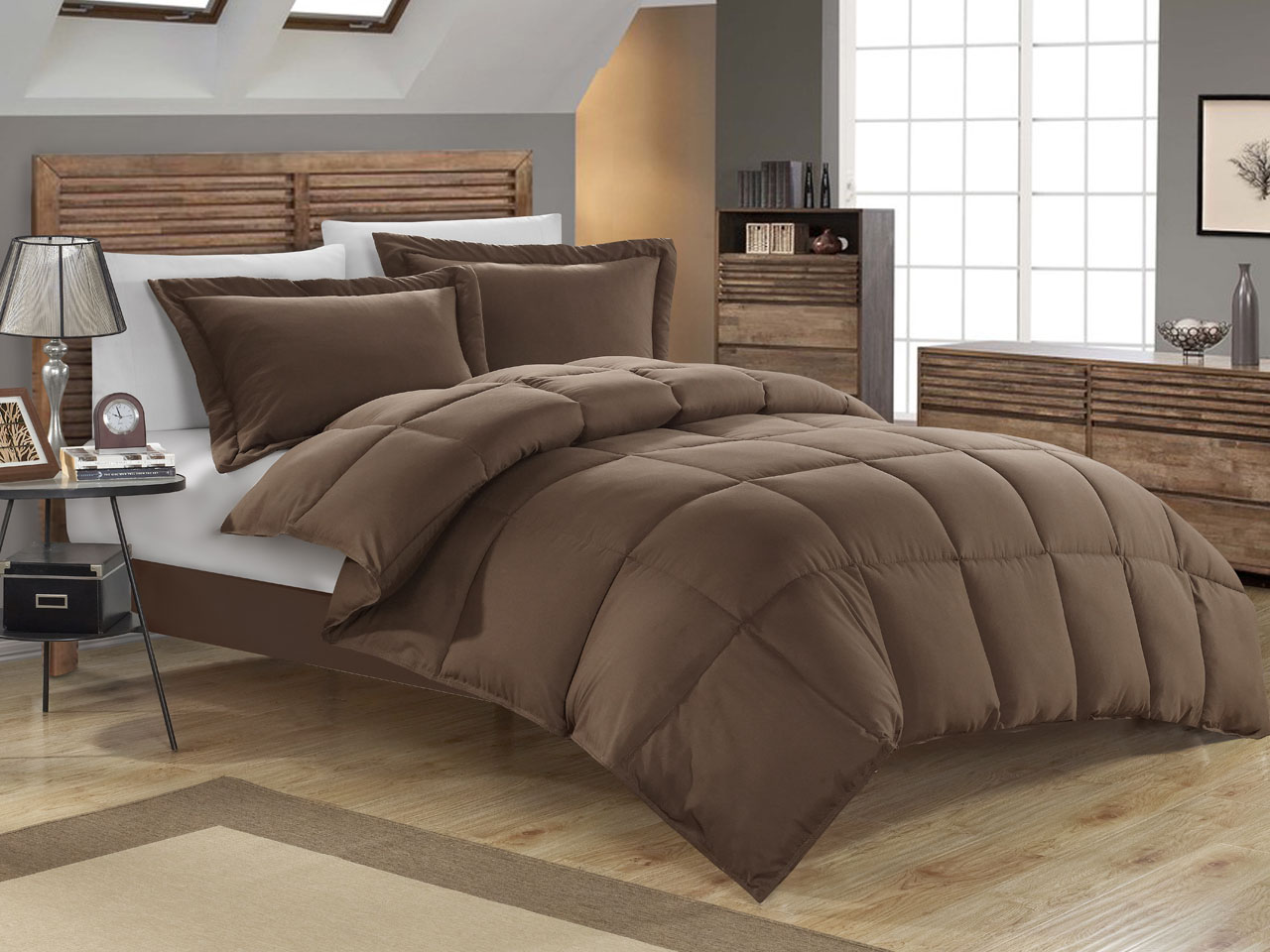 Chocolate down alternative comforter set twin