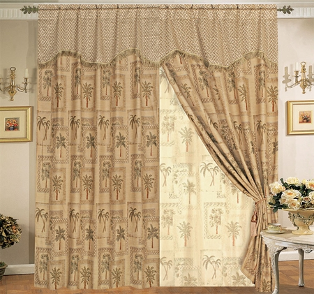 Classic Palm Tree Curtain Set w/ Valance/Sheer/Tassels