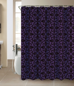 Colin Faux silk Flocking Shower Curtain Magenta/Black