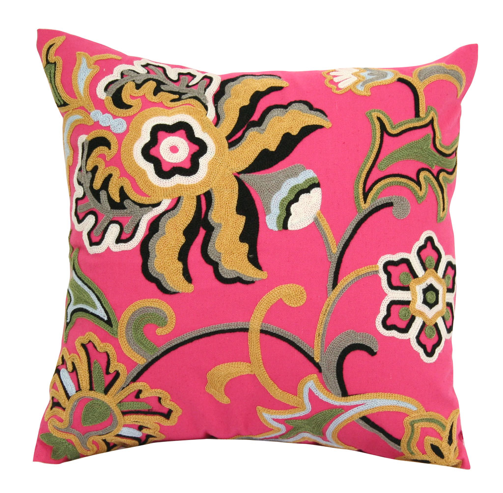dahlia hot pink decorative throw pillow 18. Black Bedroom Furniture Sets. Home Design Ideas