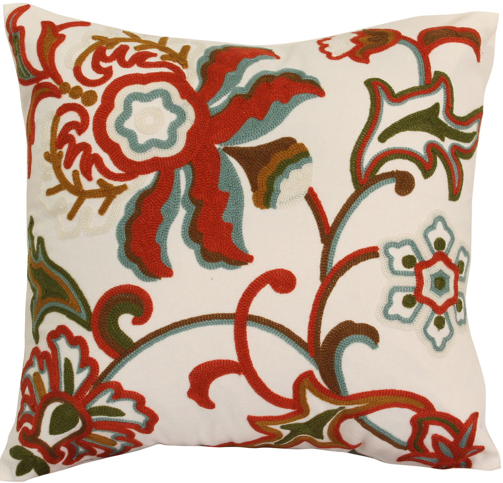dahlia red decorative throw pillow - Red Decorative Pillows