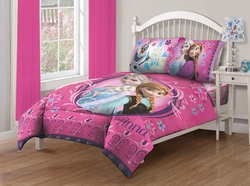 Disney Frozen Nordic Florals Twin Comforter Set with Fitted Sheet