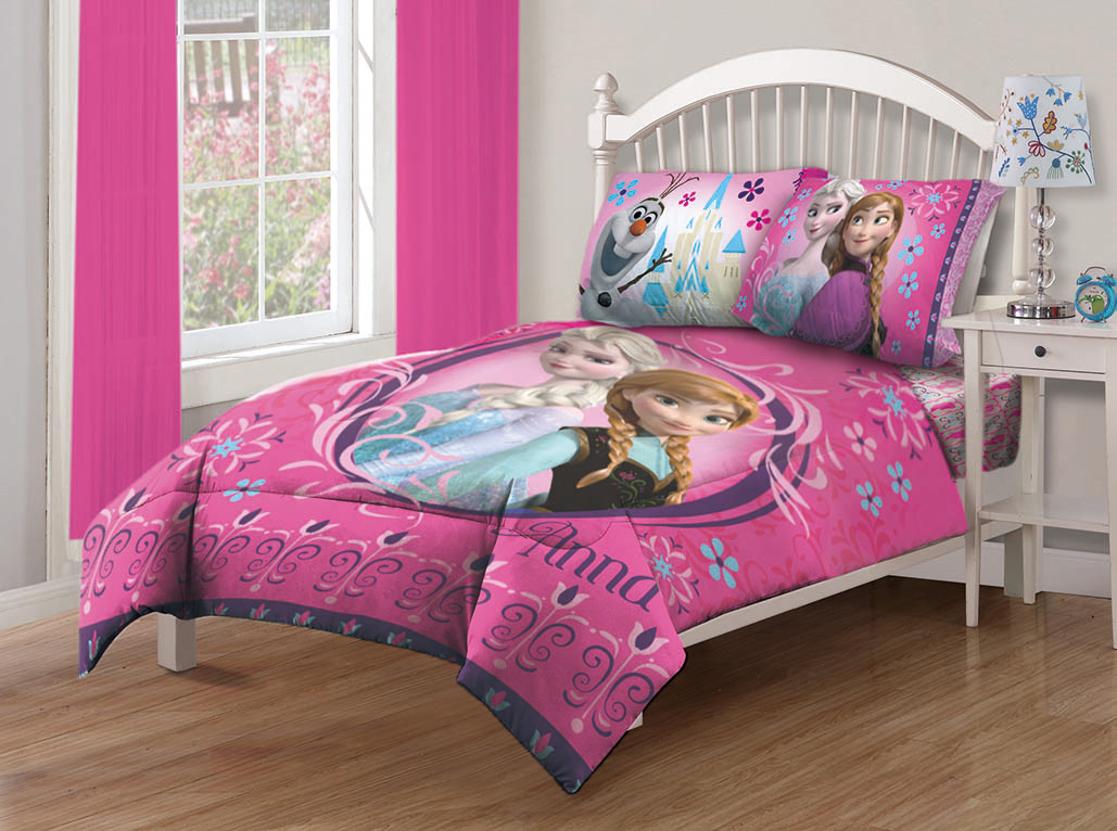 Disney frozen nordic florals twin comforter set with for Double bed bedroom sets