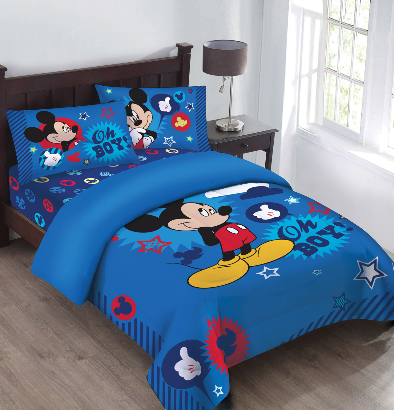 Disney Mickey Oh Boy Gosh Licensed Twin Comforter Set W Fitted Sheet