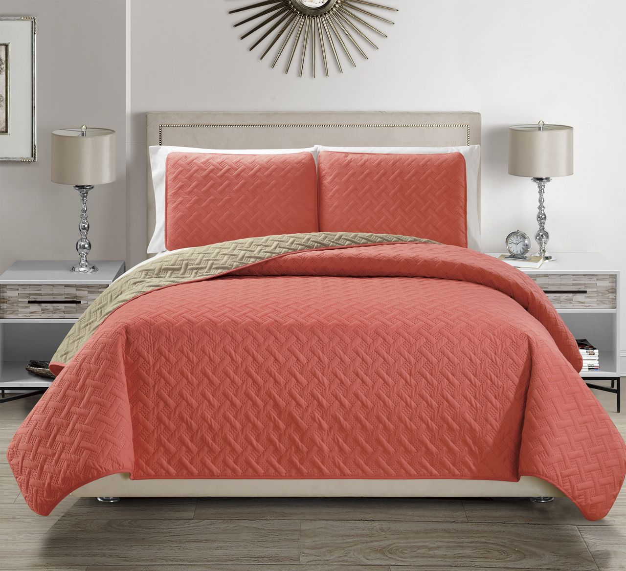 Embossed Coral Reversible Bedspread Quilt Set