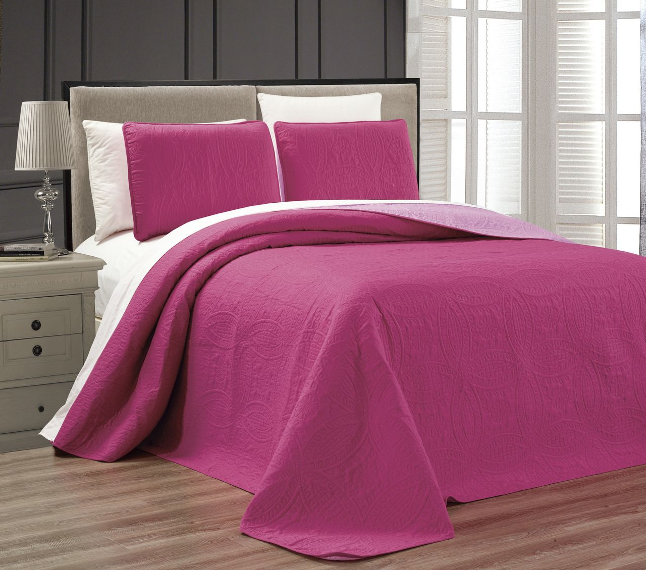 Embossed Pink Medallion Reversible Bedspread Quilt Set