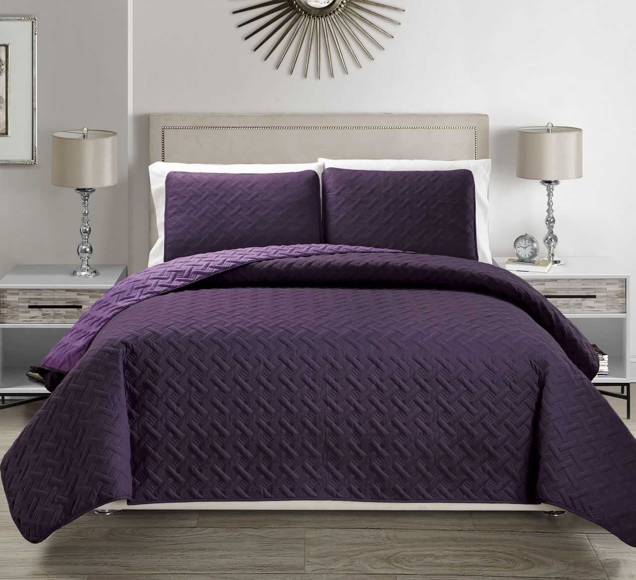 Embossed Purple Reversible Bedspread Quilt Set