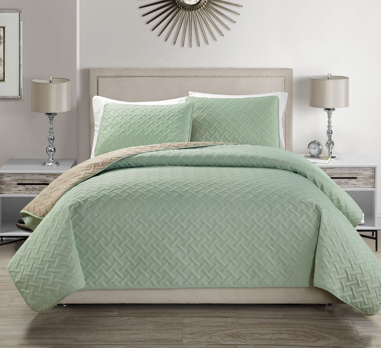 Embossed Sage Reversible Bedspread Quilt Set