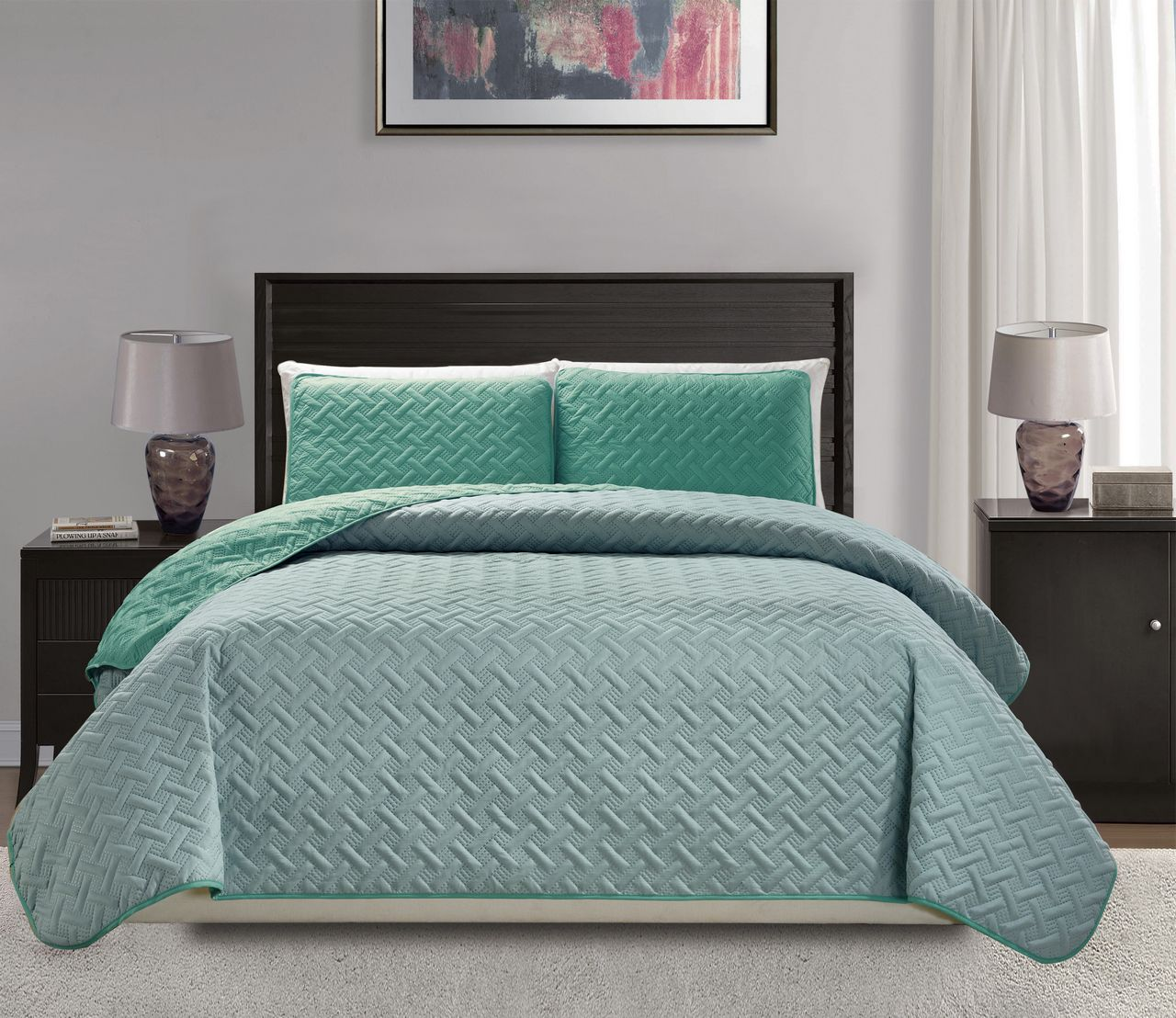 Embossed Turquoise Reversible Bedspread Quilt Set