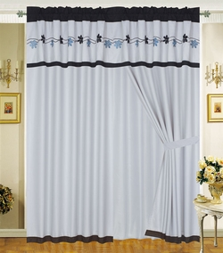 Ester Black Floral Embroidered Curtain Set