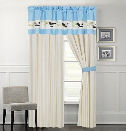 Evie Leaf Embroidered Curtain Set
