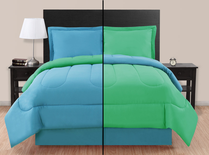 full blue green reversible comforter set