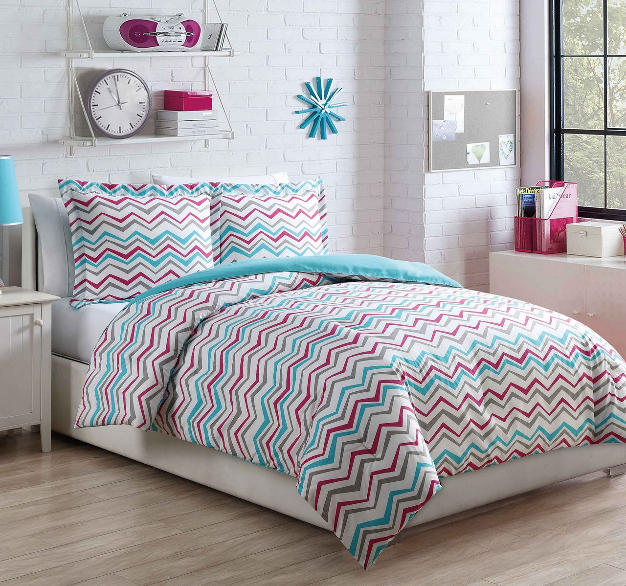 Microfiber Kids Chevron Love AquaPink Comforter Set