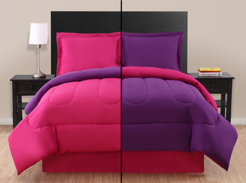 full pink purple reversible comforter set. Black Bedroom Furniture Sets. Home Design Ideas