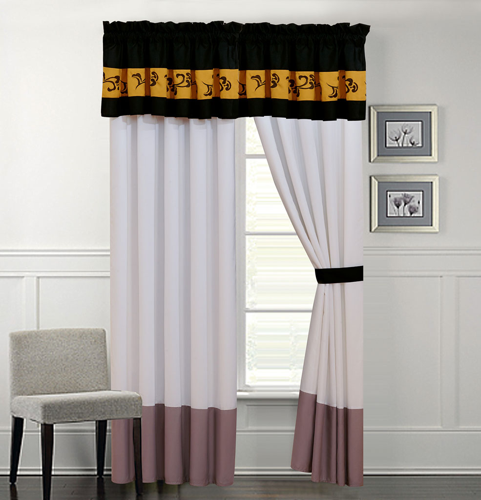 Karmen Gray And Ivory Curtain Set