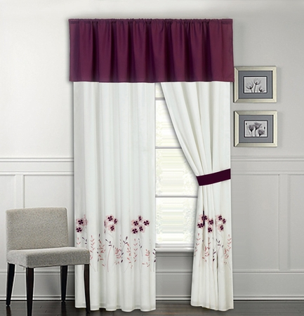 Lucern Purple and Pink Embroidered Curtain Set