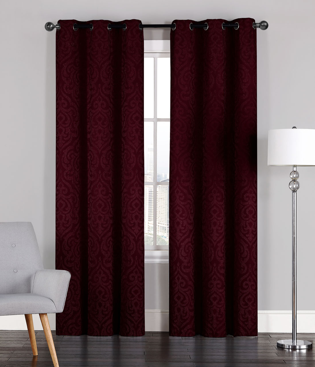 Pair Of Adelaide Crinkled Burgundy Window Curtain Panels W Grommets 96