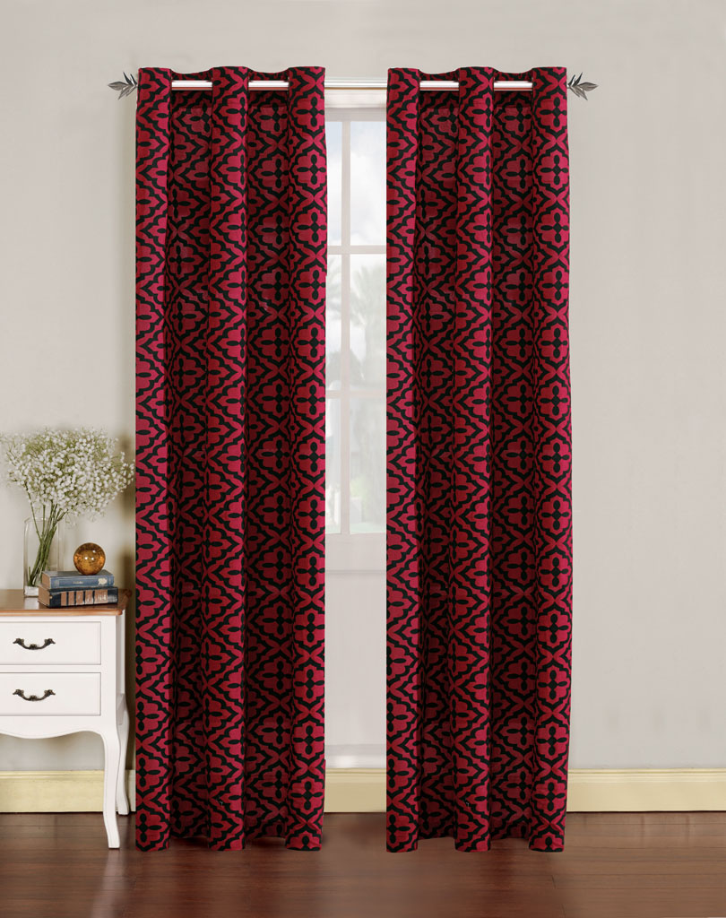 Pair Of Allie Faux Linen With Flocking Window Panels W Grommets Red Black