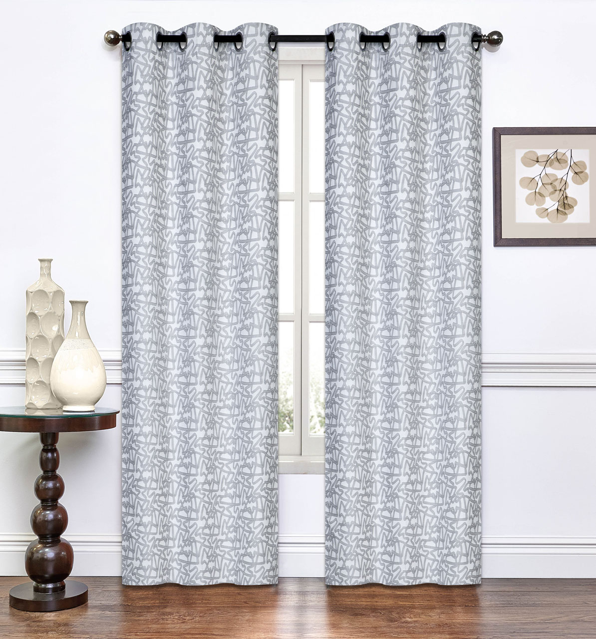 Pair of Annette Light Gray Window Curtain Panels w/Grommets 96\