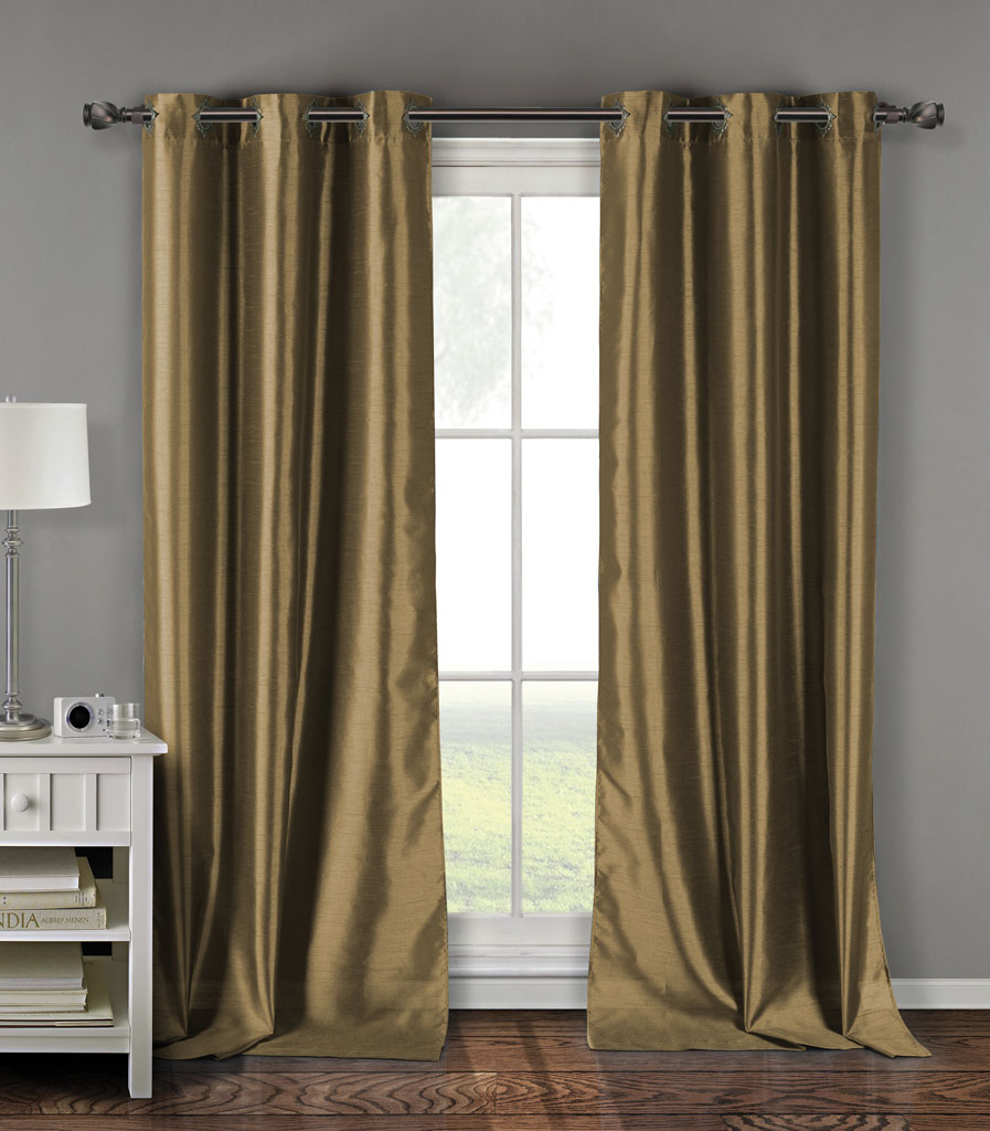 Pair Of Davis Taupe Faux Silk Window Curtain Panels W Grommets
