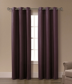 Pair of Isabelle Plum Jacquard Window Curtain Panels w/Grommets