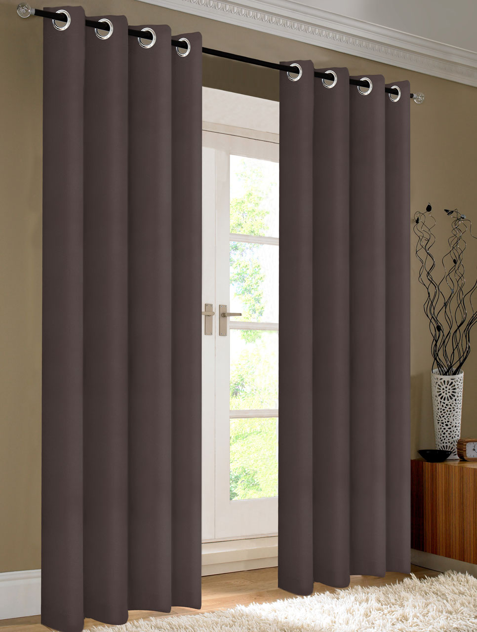 Pair Of Kevin Chocolate Blackout Window Curtain Panels W Grommets