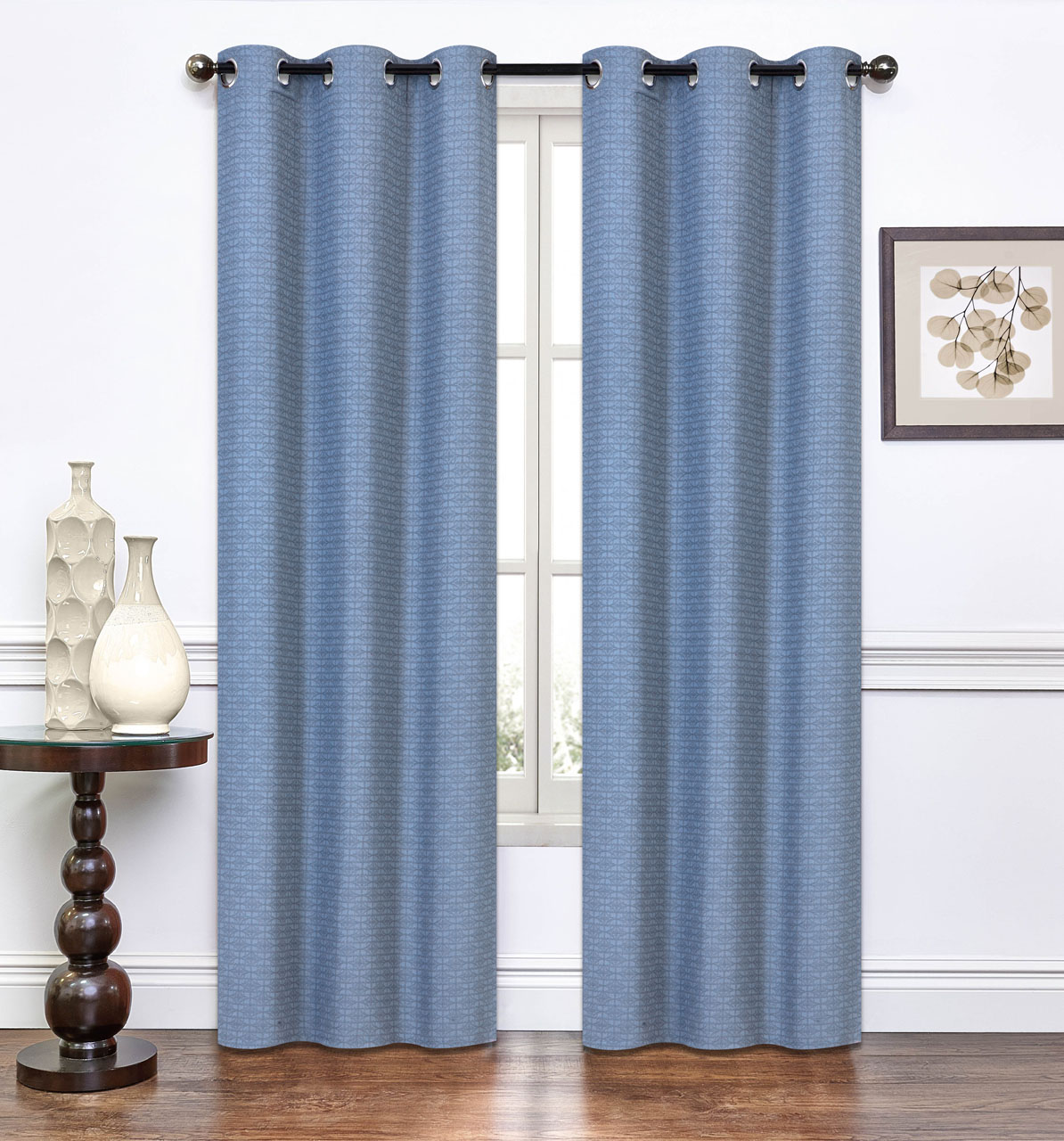 Pair of lynette slate blue window curtain panels w grommets - Epic window treatment decoration with slate blue curtain ...