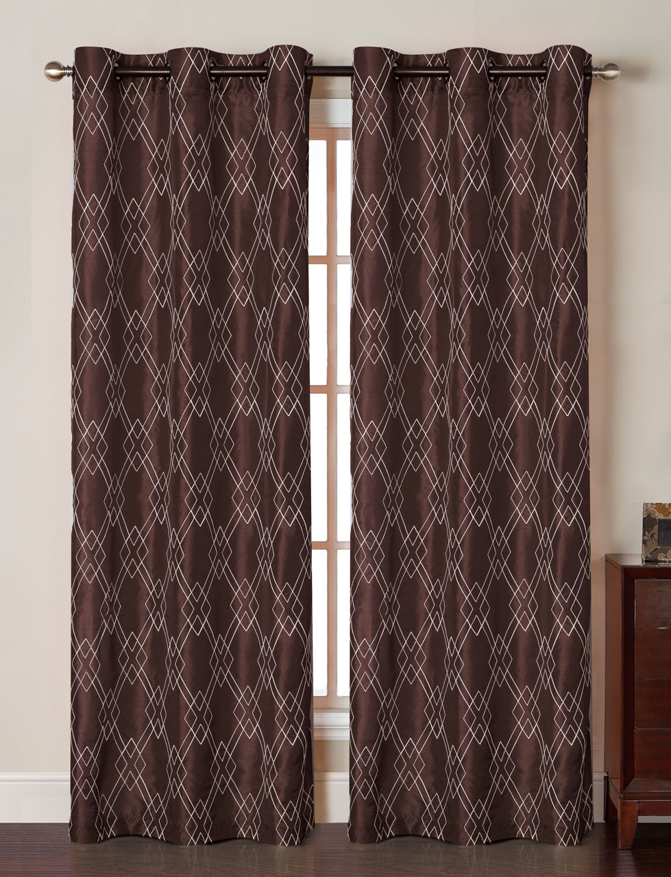 Pair Of Mya Taupe Faux Silk Window Curtain Panels W Grommets