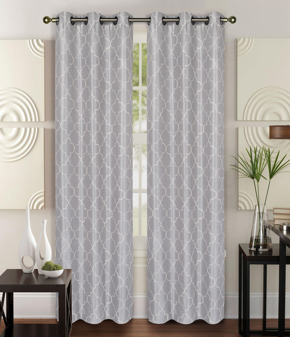 Pair Of Riley Silver Faux Silk Window Curtain Panels W Grommets