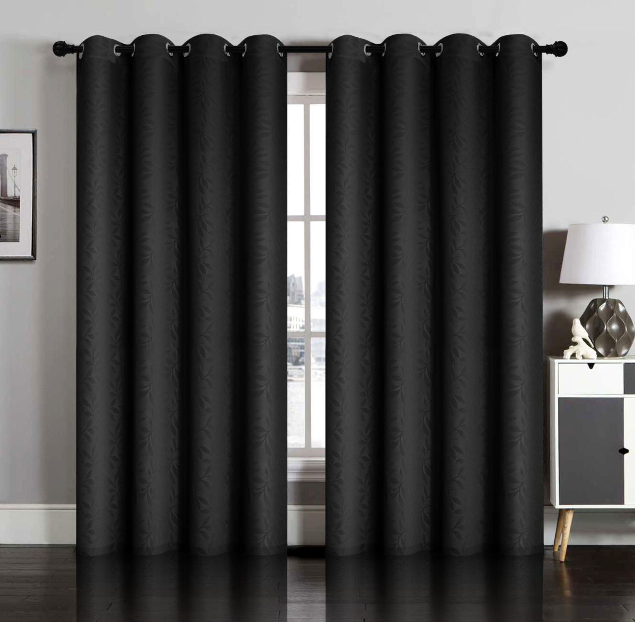 Pair Of Susan Blackout Embossed Window Curtain Panels W